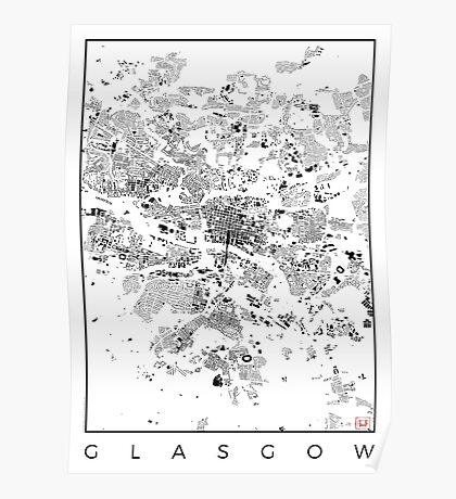 Glasgow Map Schwarzplan Only Buildings Urban Plan Poster