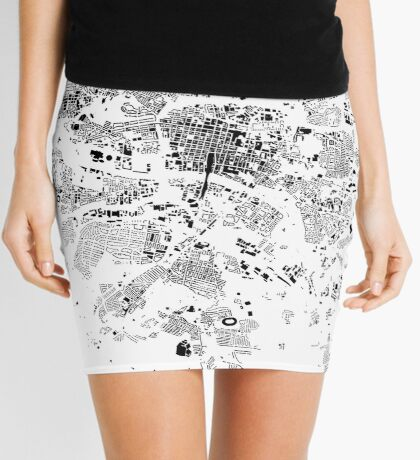 Glasgow Map Schwarzplan Only Buildings Urban Plan Mini Skirt