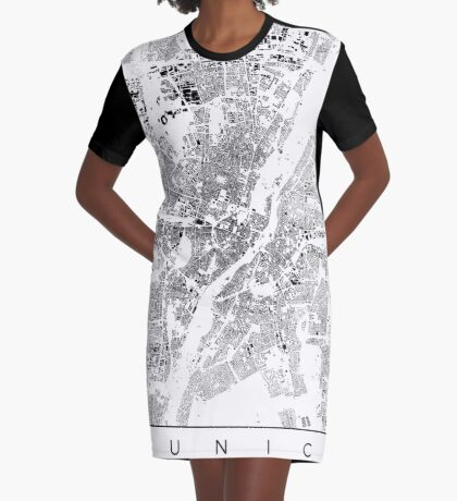 Munich Map Schwarzplan Only Buildings Urban Plan Graphic T-Shirt Dress
