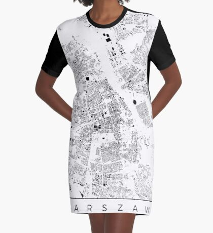 Warszawa Map Schwarzplan Only Buildings Urban Plan Graphic T-Shirt Dress