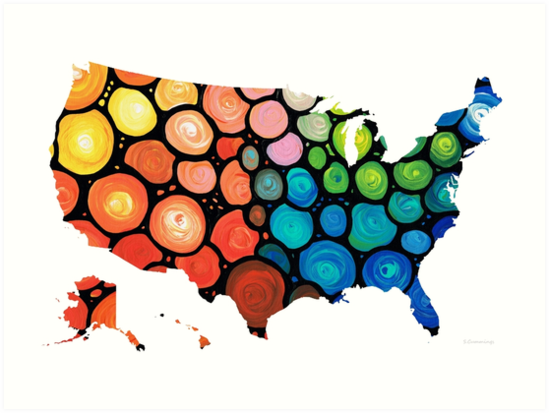 United States Of America Map 1 Colorful Usa Art Prints By Sharon