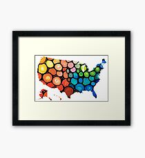 United States of America Map 1 - Colorful USA Framed Print