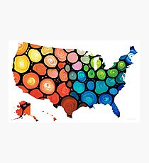 United States of America Map 1 - Colorful USA Photographic Print