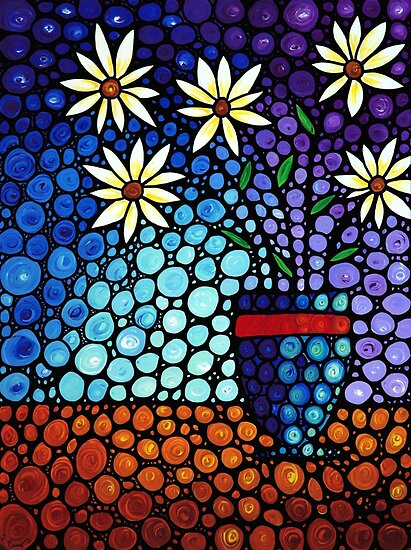 Quot You Cant Hide Beautiful Mosaic Painting Flower Art