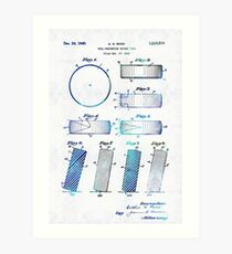 Blue Hockey Art - Hockey Puck Patent - Sharon Cummings Art Print