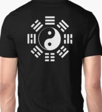 Yin Yang, I Ching, Martial Arts, Chinese, WHITE on BLACK T-Shirt