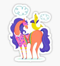 Circus Horse and Sealion, cute character illustration Sticker