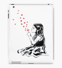 Girl blowing hearts by Banksy iPad Case/Skin