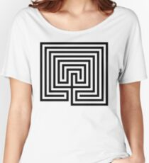 Cretan labyrinth black and white  Women's Relaxed Fit T-Shirt