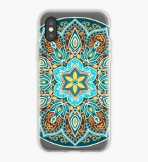 Flower Mandala in turquoise colors.  iPhone Case