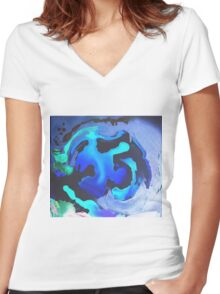 Swim with the Mermaids in the Great Natural Deep Blue Sea Women's Fitted V-Neck T-Shirt