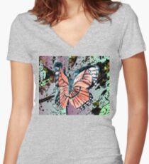 Orange butterfly design Women's Fitted V-Neck T-Shirt