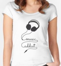 music addict with headphone Women's Fitted Scoop T-Shirt