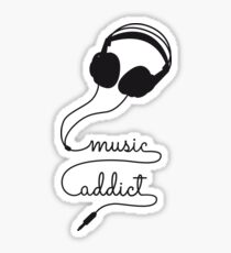 music addict with headphone Sticker