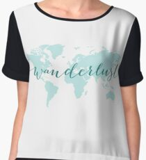 Wanderlust, desire to travel, world map Women's Chiffon Top