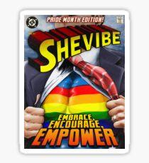 SheVibe Super Human Gay Pride Cover Art Sticker