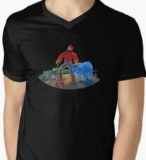 Paul Bunyan and Babe the Blue Ox Men's V-Neck T-Shirt