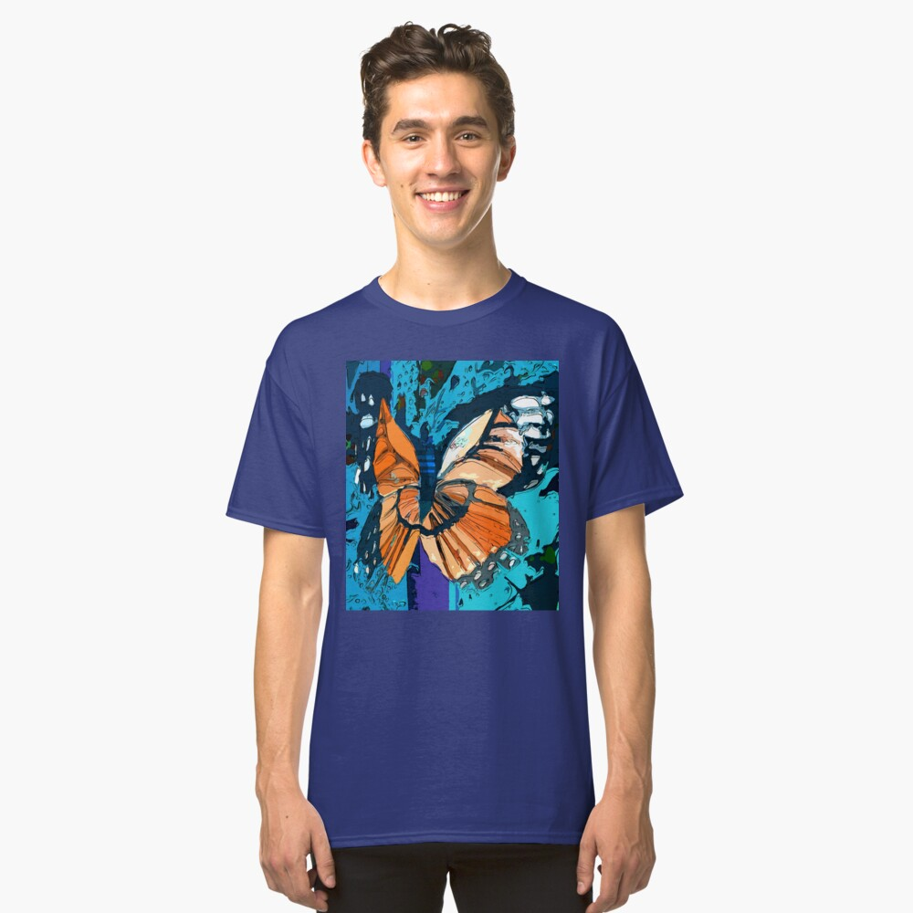 Orange butterfly graphic Classic T-Shirt Front