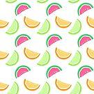 Watermelon, Oranges and Limes repeat pattern (white) by kissmyartichoke