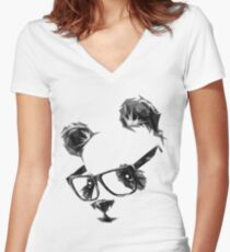 Cool Panda Women's Fitted V-Neck T-Shirt