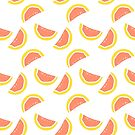 Grapefruit/Blood orange repeat pattern (white) by kissmyartichoke