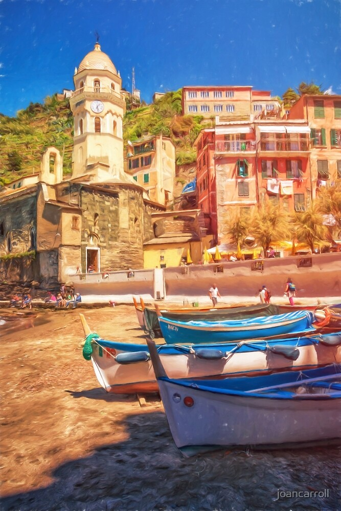 Vernazza Boats And Church Cinque Terre Italy Painterly by joancarroll
