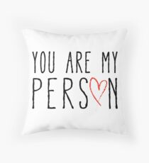 You are my person, text design with red scribble heart Throw Pillow