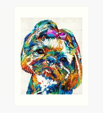 Colorful Shih Tzu Dog Art by Sharon Cummings Art Print