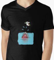 Jetpack Penguin Mens V-Neck T-Shirt