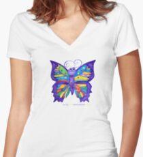 Yoga Butterfly; Namaste  Women's Fitted V-Neck T-Shirt