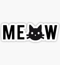 meow, text design, word art with black cat head Sticker