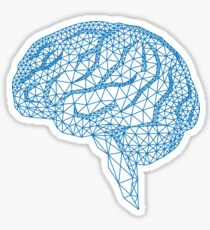 blue human brain with geometric mesh pattern Sticker