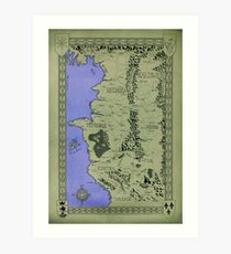 Witcher map done in Ink - COLOR Art Print