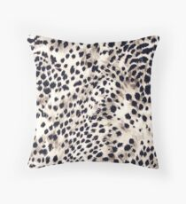 Fabric Art, Faux Animal Fur, Snow Leopard Print Throw Pillow