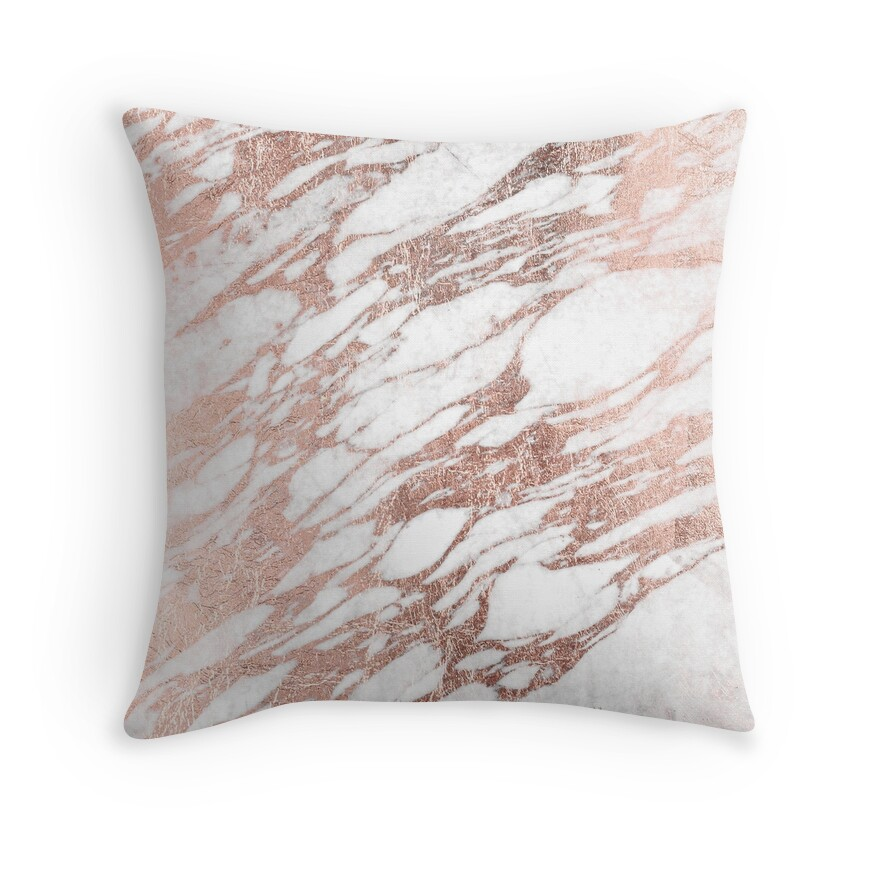 Quot Chic Elegant White And Rose Gold Marble Pattern Quot Throw