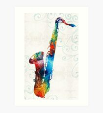 Colorful Saxophone 3 by Sharon Cummings Art Print
