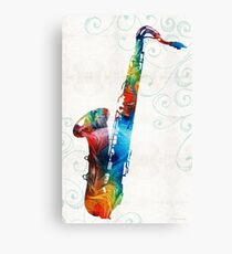 Colorful Saxophone 3 by Sharon Cummings Canvas Print