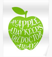green apple with word art Poster