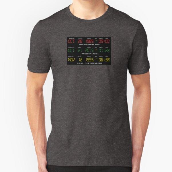 DeLorean Time Travel Display Dashboard Slim Fit T-Shirt