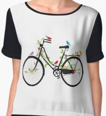 Old vintage bicycle with flowers and birds Women's Chiffon Top