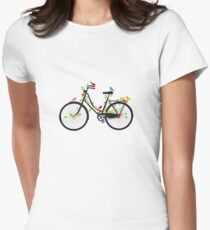 Old vintage bicycle with flowers and birds Women's Fitted T-Shirt