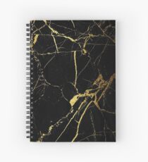 Black and Gold Marble  Spiral Notebook