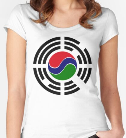 Korean Gambian Multinational Patriot Flag Series Fitted Scoop T-Shirt