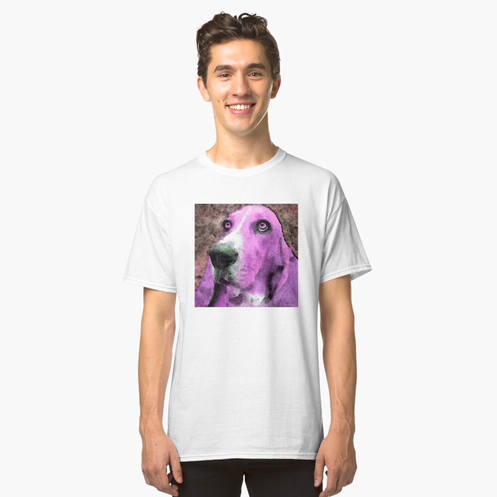 Basset Hound - Pop Art Pink Classic T-Shirt Front