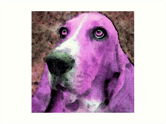 Basset Hound - Pop Art Pink by Sharon Cummings