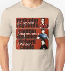 The Captain, The Superhero, and The Writer T-Shirt