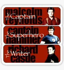 The Captain, The Superhero, and The Writer Sticker
