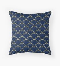 Blue and Gold Scales Throw Pillow