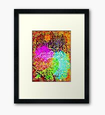 Flowers and Hearts Cat Framed Print