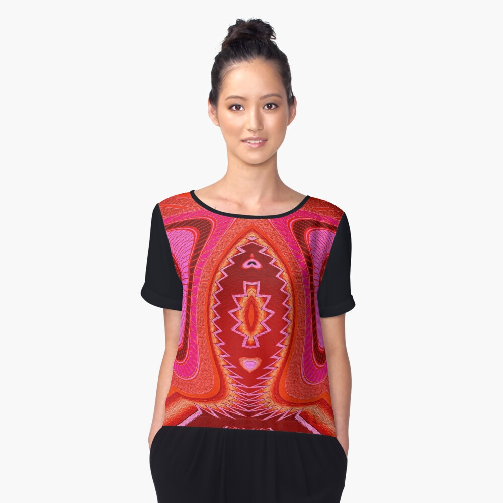 Grasshopper Love Abstract  Women's Chiffon Top Front